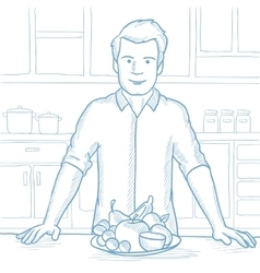 Man with healthy food sketch vector