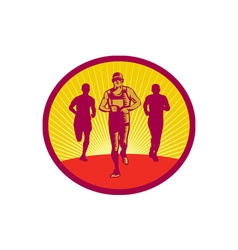 Marathon runner circle woodcut vector