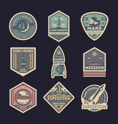 mars expedition isolated label set vector image vector image