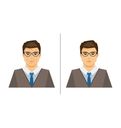 Men with acne and clear skin vector