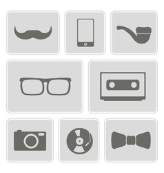 Monochrome icons with different hipster objects vector