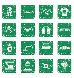 New technologies icons set grunge vector