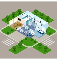 One storied office isometric interior vector