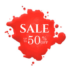 sale poster with red blot vector image vector image