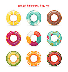 set of isolated rubber swimming rings vector image vector image