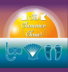 Set summer icon over sea vector