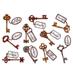 sketch vintage keys with keychain tags vector image