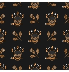 Skull and roses seamless pattern Art Deco vector image vector image