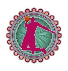 Sport emblem basketball vector