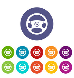 Steering wheel of taxi set icons vector
