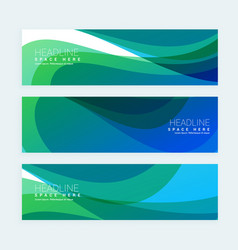 Stylish banners set with colorful wave vector