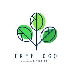 tree logo original design green eco and bio badge vector image vector image