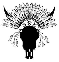 Tribal warrior style wild animal skull vector