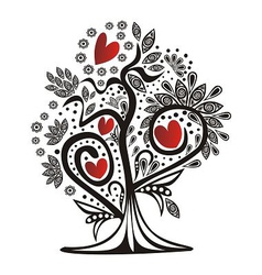 Valentines day card tree love hearts vector image vector image
