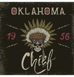 Vintage label with skull-chief vector image vector image