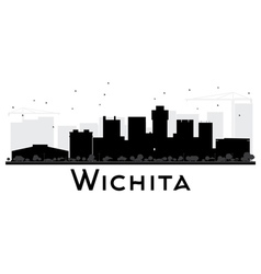 Wichita city skyline black and white silhouette vector