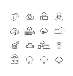 Cloud computing line icons vector image