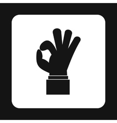 Ok gesture icon simple style vector
