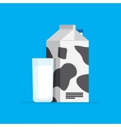 Carton of milk and the in a glass vector
