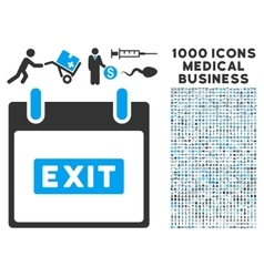 Exit caption calendar day icon with 1000 medical vector