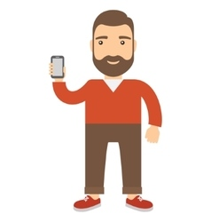 Man holds a cell phone vector