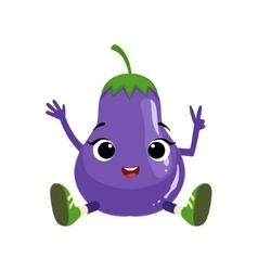 Big eyed cute girly eggplant character sitting vector