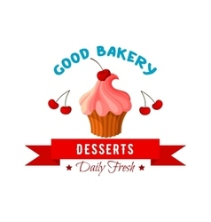 Dessert icon or emblem of cake or tart vector