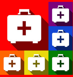 Medical first aid box sign  set of icons vector