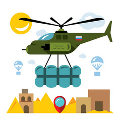 Humanitarian aid in a war zone flat style vector