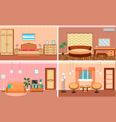 Four living room interiors in one set bedroom and vector