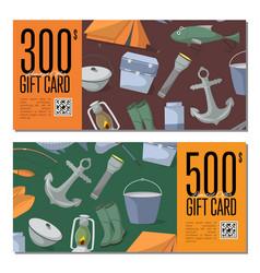 Fishing shop gift card templates vector