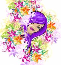 floral garden girl vector image