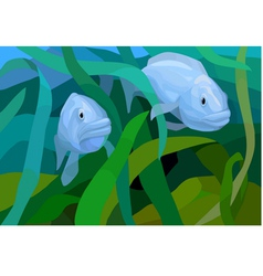Underwater view with fishes in the sea vector