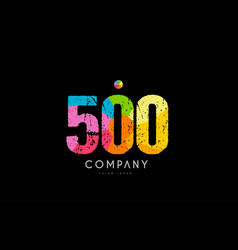 500 number grunge color rainbow numeral digit logo vector