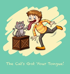 Cat got your tongue idiom vector