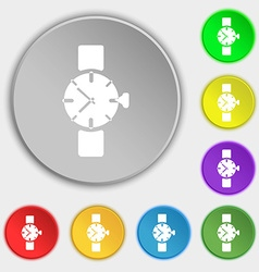 Watches icon symbol symbols on eight flat buttons vector