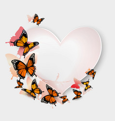 Greeting card with colorful butterflies and heart vector