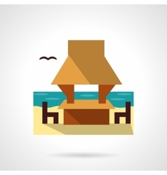 Beach gazebo flat color design icon vector