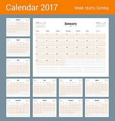 Calendar template for 2017 year set of 12 months vector