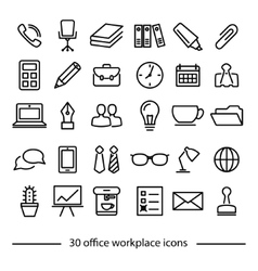 Set of office workplace line icons vector