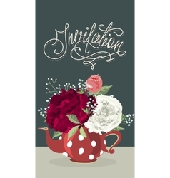 Invitation card with beautiful flowers vector