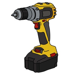 Yellow cordless screwdriver vector