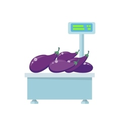 Tray with eggplants on store scales vector