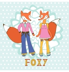 Adorable foxes couple hand drawn vector