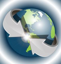 arrows around globe vector image vector image