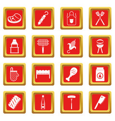 Bbq food icons set red vector
