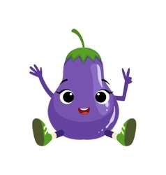 Big eyed cute girly eggplant character sitting vector