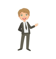 Boy in classic black suit happy schoolkid in vector