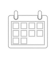 Calendar sign black dotted vector
