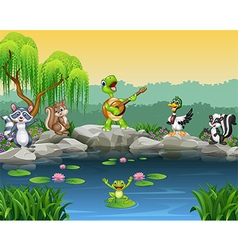 Cartoon happy animals singing collection vector